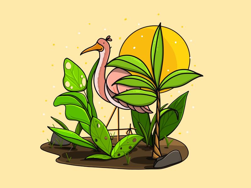 Big Bird ipad dribbble art oasis leaves bird drawing procreate illustration
