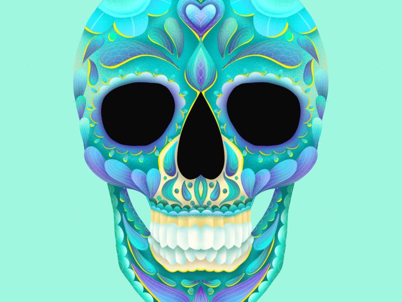 Sugar Skull ipad drawing digital illustration procreate