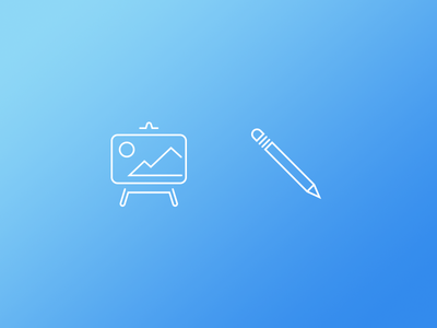Simply Creative canvas pencil blue simple illustration vector drawing line