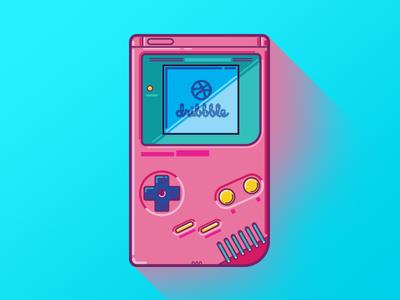 GameBoy Retro handheld games neon colors illustration icon gaming 80s retro nintendo gameboy