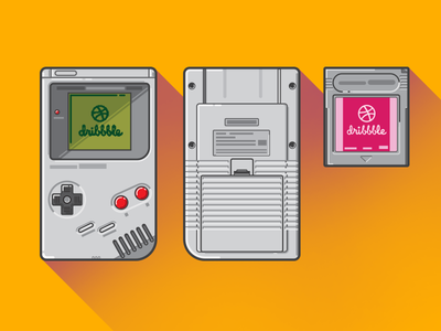 Let's play some Dribbble neon colors colorful simplistic vector illustration icon gaming 80s retro nintendo gameboy