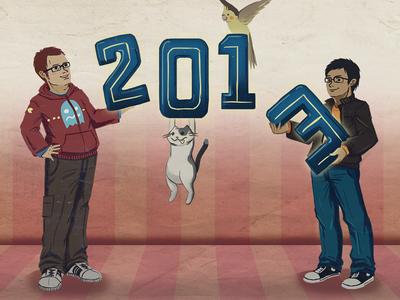2013: HAPPY NEW YEAR! new year design illustration cats birds drawing digital drawing cartoon art 2013