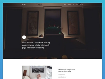 Clark - Landing Page Concept web-design website template unique modern ui product launch minimal clean onepage landing startup