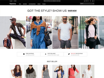 Namira eCommerce Template minimal modern clothe storefront trendy unique clean responsive shop ecommerce style fashion