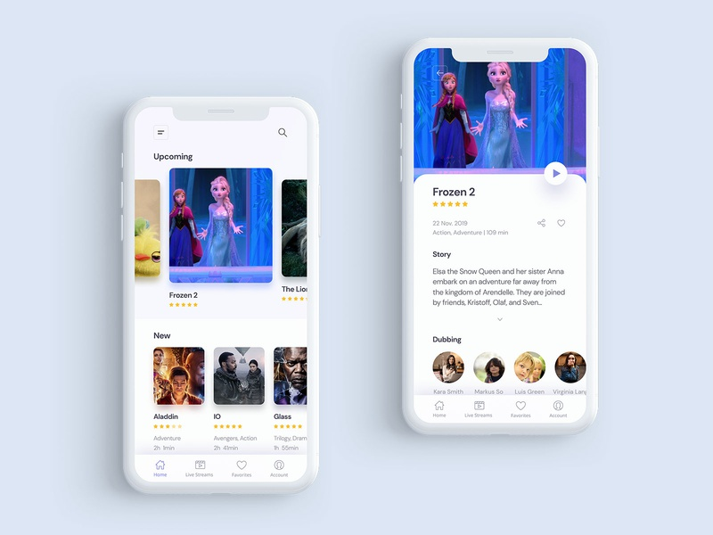 Movie Streaming App creative clean streaming app movie iphone mobile android ios ux ui