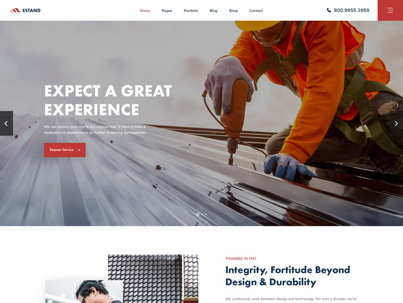 Estand - Home Maintenance and Services PSD Template electrician cleaning plumbing template modern roofing service maintenance home house business