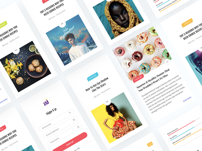 Articles App - Debut Shot illustration gif ui kit android material freebie social feed ios app dribbble debut