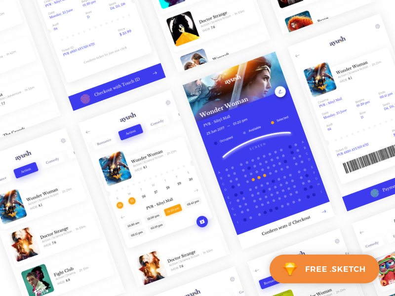 Movie Booking App - pt2 ui kit gif freebie challenge sketch ayush app interaction ios ticket booking movie