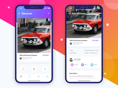 Car Finder App dashboard mockup match dating ios freebie gradient swipe profile tinder feed car