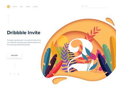 2 Dribbble Invites plant draft plants landing colors web ios illustration debut dribbble invitation invite