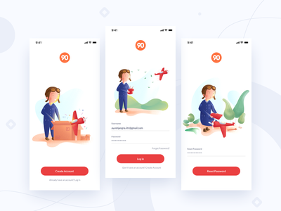 Maks || Login Screens android booking landing feed interaction banking social kids password account signup login pilot unboxing plane airplane app illustration profile ios