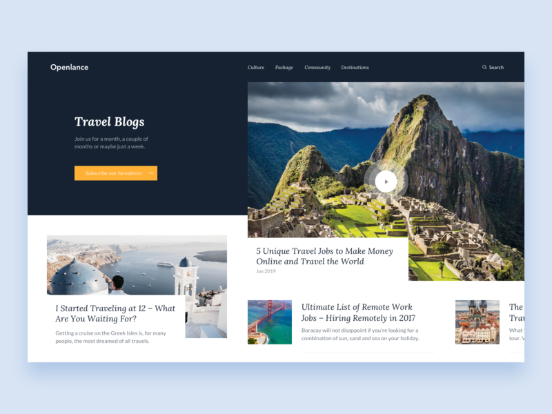 Openlance    Blog Page hotel booking trip tour world freelance remote articles reading app mountains travel blog web