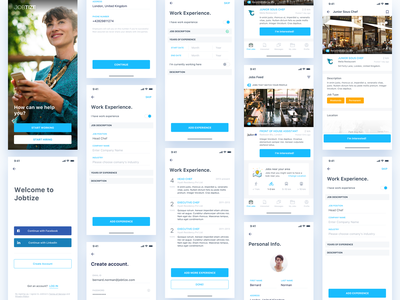 Jobtize || iOS App bruvvv booking banking service card professional networking application experience work employee resume job design illustration profile feed social app ios