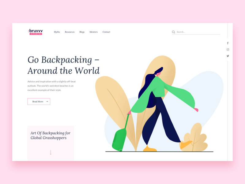 Go Backpacking || Illustration web homepage landing travel blog global flat bruvvv lady ux ui solo illustration agency traveller world booking leaves bags backpacking travel