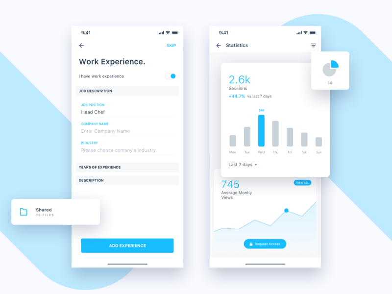 Jobtize || Stats profile social experience work freelance statistics graph employee resume job service e commerce booking banking typography app ios ui design stats