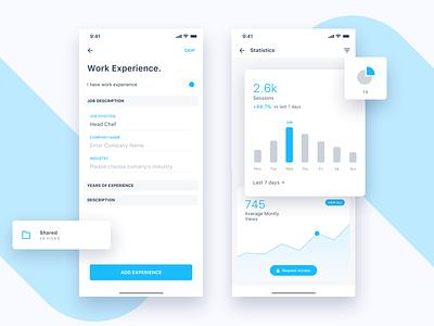 Jobtize || Stats profile social experience work freelance statistics graph employee resume job service e commerce booking banking typography app ios ui design stats
