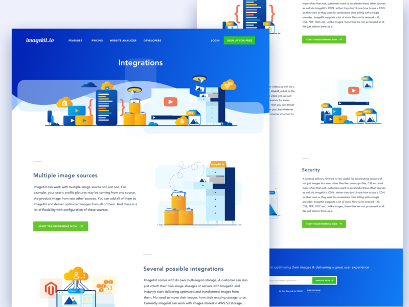 Imagekit.io || Integration ios app illustration dashboard features code coding website web screen landing homepage icon set illustration set cloud storage imgaekit integration bruvvv freelancer