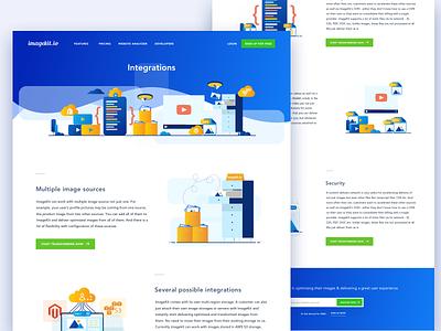Imagekit.io || Integration ios app illustration dashboard features code coding website web screen landing homepage icon set illustration set cloud storage imgaekit integration bruvvv freelancer