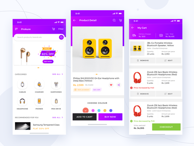 Prokure || iOS App dailyui social dashboard banking booking ui landing design app profile ui kit payment delivery mobile electronics ios shopping product cart ecommerce