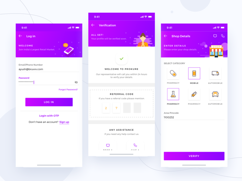 Prokure || Login shopping welcome illustration hotel seller dashboard app ios online ecommerce medicine pharma verification otp dailyui onboarding login interaction profile booking
