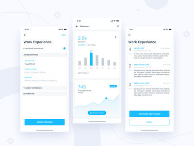 Jobtize || Work Experience networking booking analytics ui kit ecommerce illustration freebie material flat android job experience work stats statistics chart graph app ios daily ui