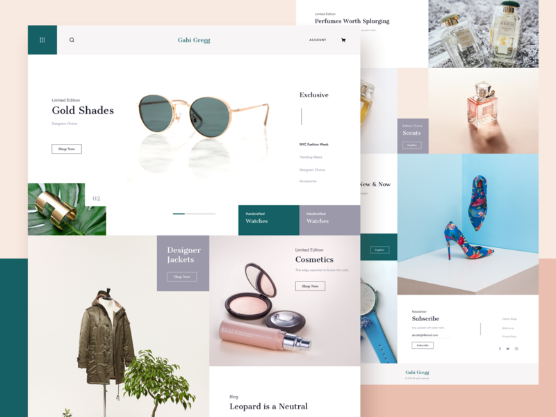 Gabi Gregg || Homepage ui studio design studio app daily ui bruvvv web media social layout cards booking ecommerce shopping fashion blogger freelance homepage landing website