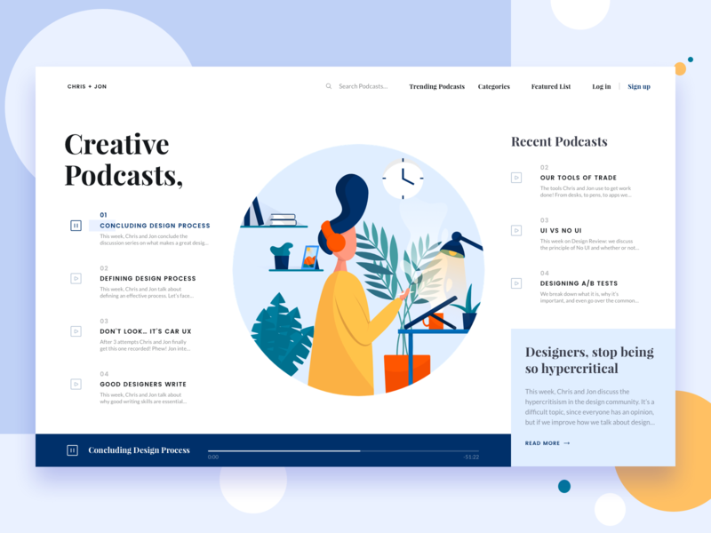 Chris + Jon || Podcast empty state blog homepage website design shopping ecommerce ux ui daily ui studio bruvvv web landing freelancer table creative music illustration podcast