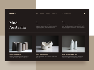 Mud Australia Ceramic || Landing material app layout products daily ui booking ecommerce shop usa australia craft art seo landing  page bruvvv design studio freelance website landing ceramics