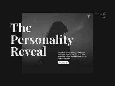 Personality Reveal Landing Page Design dark typography minimal landing pages dark mode personality landing page ui ux ui design webdesign dark ui dark theme