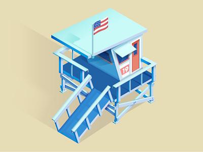 Lifeguard Shack isometric illustraion gradient summer beach lifeguard vector illustrator