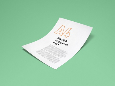 Photorealistic A4 Paper Mockup branding identity letterhead letter psd floating bend realistic photorealistic mockup paper