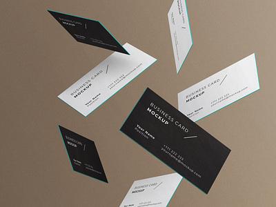 Minimal Business Cards Mockup # 3 template set psd mockup minimal identity elegant edges floating corporate clean falling card cards business brand