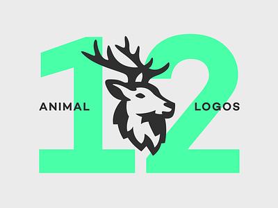12 Animal Logos deer pack collection set forest space negative illustration symbol icon logo head animal