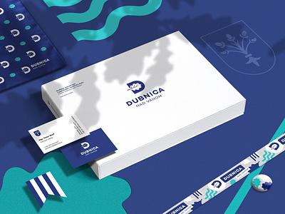 Town of Dubnica nad Váhom – Visual Identity white blue oak visual town slovakia modern logo city identity branding