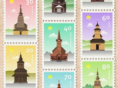 Slovak Wooden Churches wooden stamp slovakia postal post church