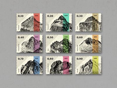 Mountain Peaks of High Tatras_Stamp Collection tatras high slovakia pack set illustration post postal mountains stamps stamp collection