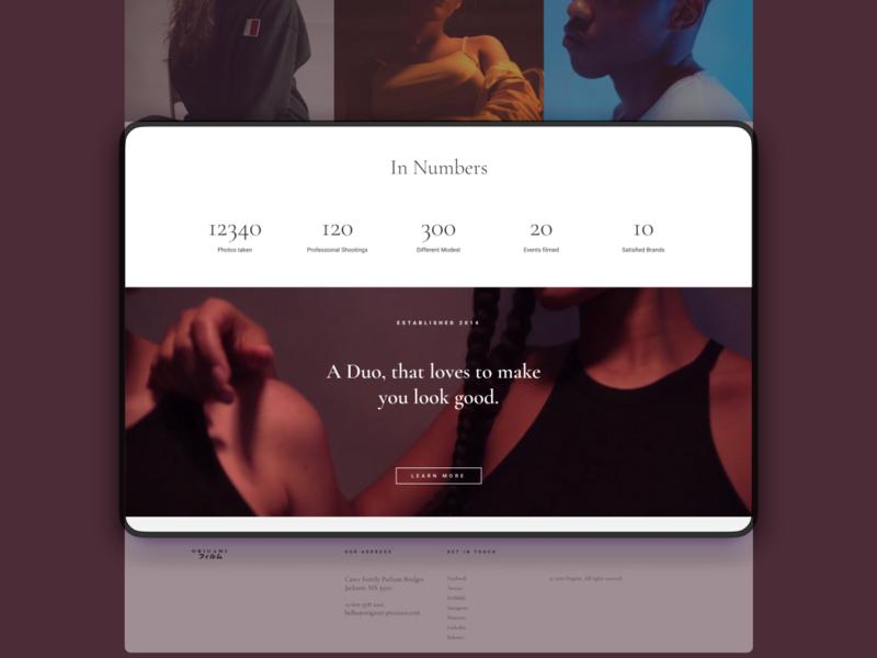 Origami Films   Professional Videography Portfolio ux website typography minimal css code design clean figma branding web ui