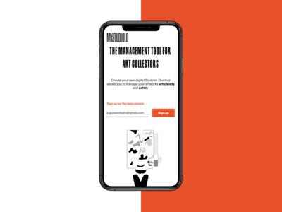 MyStudiolo Hero   Art Collector Startup Landingpage frontend development frontend branding app minimal clean website figma design web ui