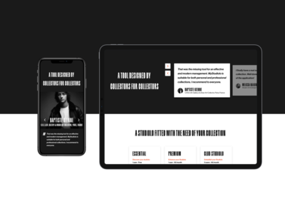 MyStudiolo Testimonials    Art Collector Startup Landingpage typography code clean website figma design web ui