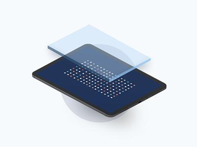 Olos @ Illustration video tablet motion minimal isometric illustration design database data colors clean blue