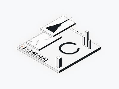 Loft @ Integration Illustration geometric ux interface white black minimal clean ui design idenity graph bargraph bar search analytics statistics charts data visualization data viz illustration