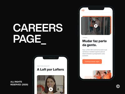Loft @ Careers page design real estate loft talent employees interface minimal clean ui ux ui design mobile ui careers