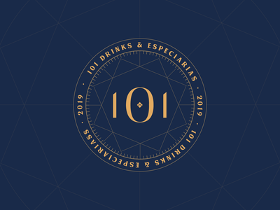 101 Drinks @ Logo gold lines design logotype drinks blue branding typography logo