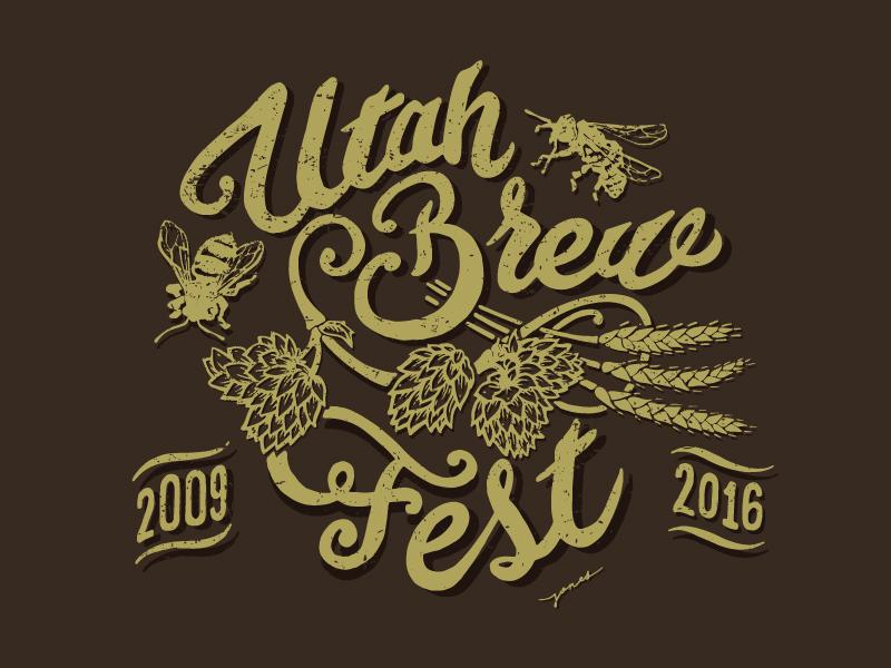 Utah Brew Fest Logo logo hand lettering t-shirt design
