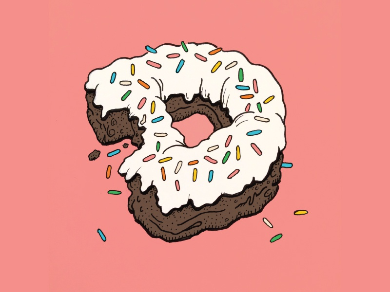 D is for Donut illustration lettering