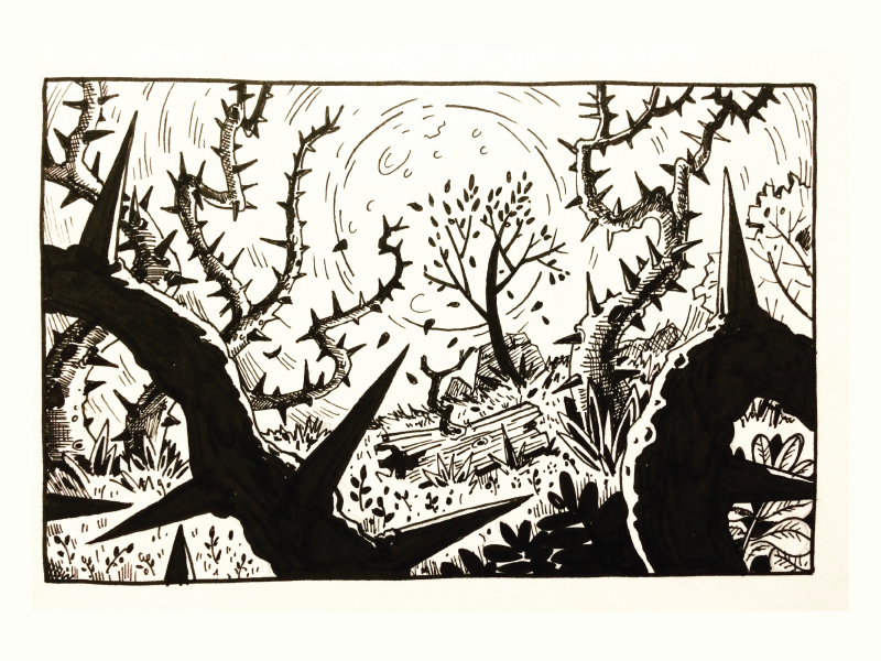 Spooky Forest  spooky drawing ink illustration