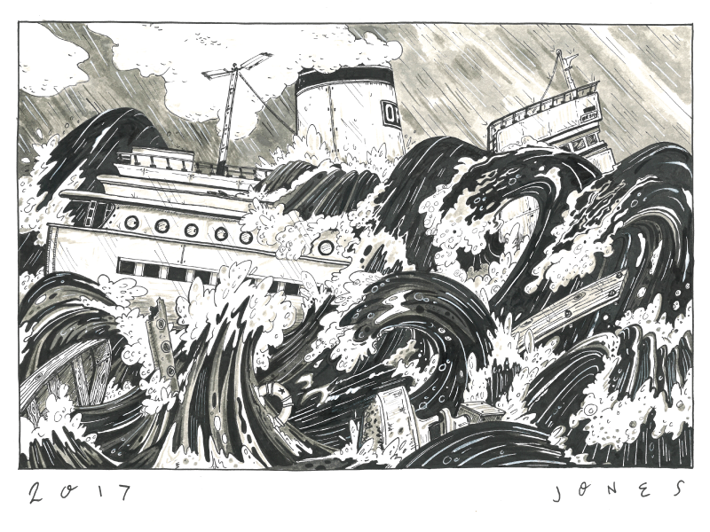 Iron Shipwreck drawing ink illustration