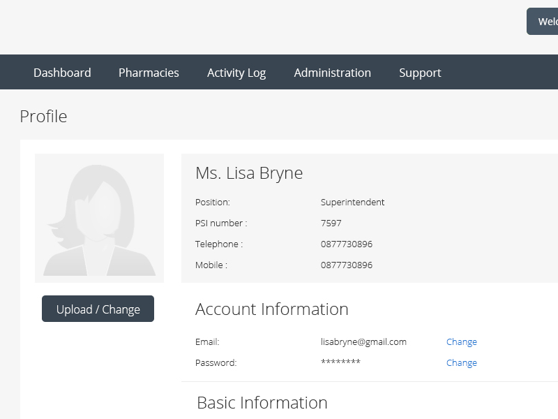 Profile - Pharmacy Application flat green ux ui forms