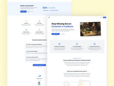 Feedback Finder Landing Page 2021 branding design web
