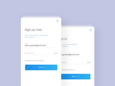 Sign up & Sign in - UI/UX Design gradients signup login ux ui interface mobile design app